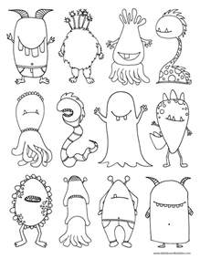 monsters coloring page dabbles amp babbles