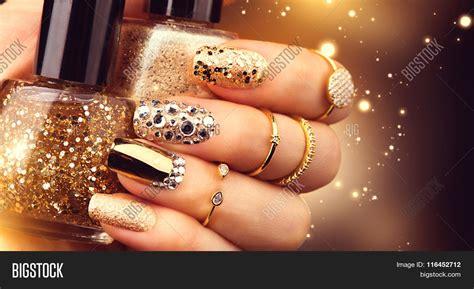 Nail Accesorries Style Nail Stickertape 1 golden nail manicure image photo bigstock