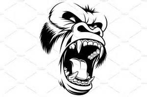 ferocious gorilla head illustrations creative market