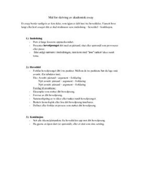 Hvordan Skrive Essay Oppskrift by Modell For Akademisk Essay Studienett No