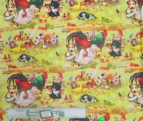 Patchwork And Quilting Fabric - patchwork quilting sewing fabric farmyard friends chooks