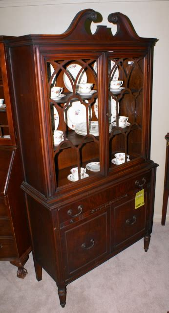 walnut 2 door china cabinet for sale antiques
