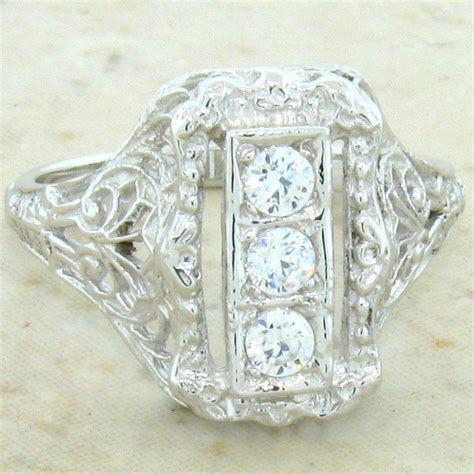 deco antique style 925 sterling silver cz ring 699