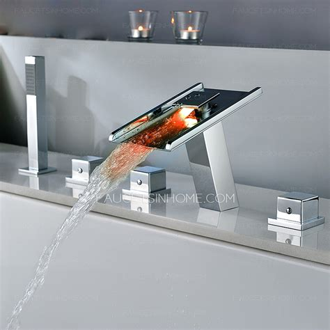 led bathtub faucet high end waterfall led five set bathtub shower faucet