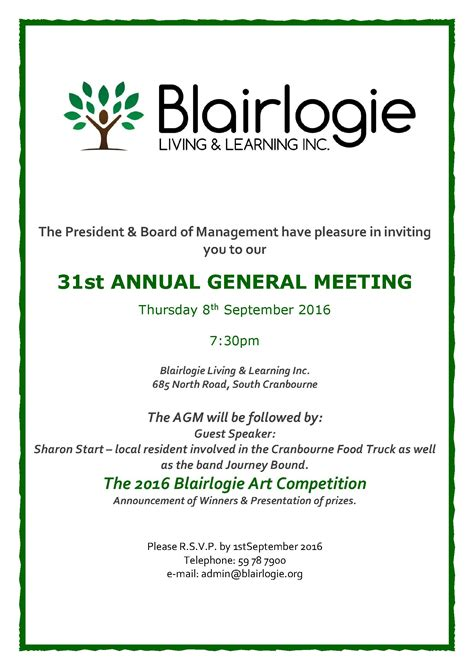 Invitation Letter For Agm Meeting Annual General Meeting 2016 Blairlogie Living Learning Inc