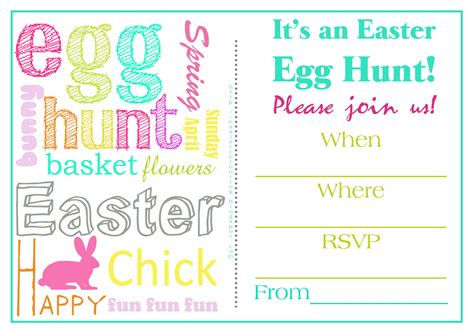 easter colouring easter egg hunt invitations