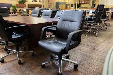 via seating dyce mid back black leather conference chairs