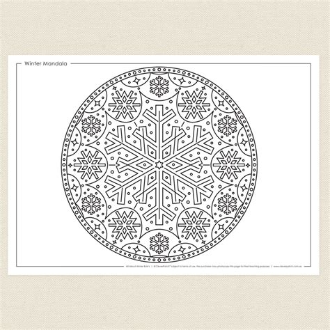 Winter Mandala Colouring Sheet Cleverpatch