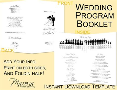 wedding program booklet template free wedding program booklet style silhouette printable instant