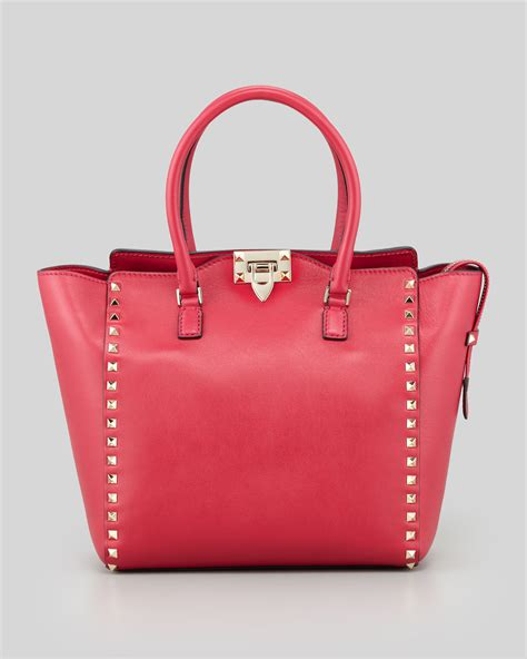 valentino rockstud doublehandle shoulder tote bag pink in
