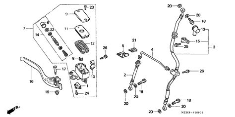 master cylinder parts diagram st1100 parts fiche brake master cylinder front st1100pt