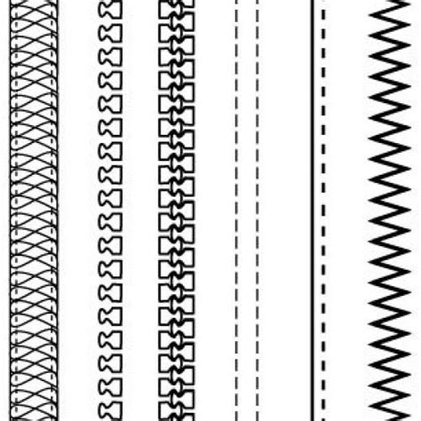 Zipper Pattern Vector | free fashion design brushes zippers stitching vector
