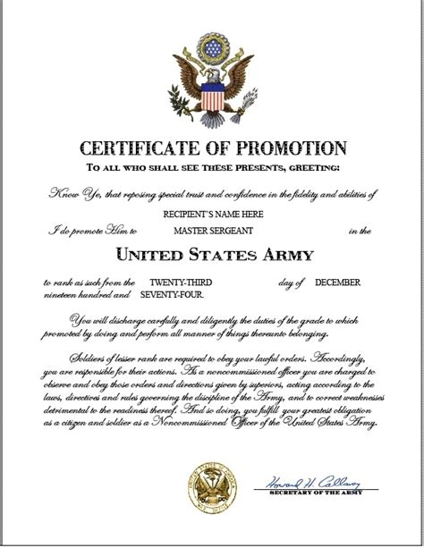 certificate of promotion template army officer promotion certificate template army promotion