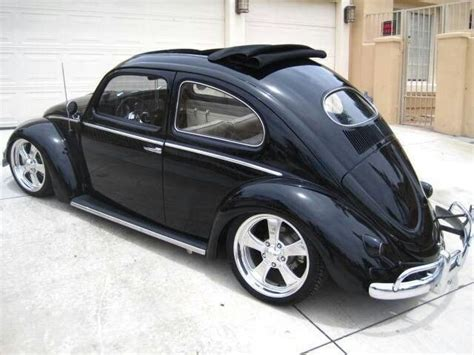 volkswagen beetle modified black black oval rag top cars pinterest