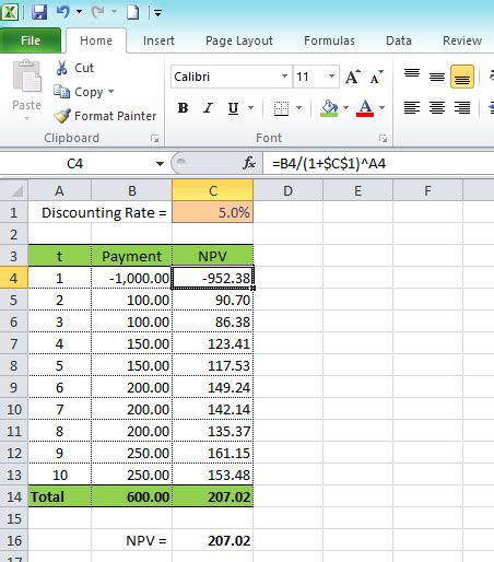 excel tutorial npv net present value calculator excel template frivkizi info