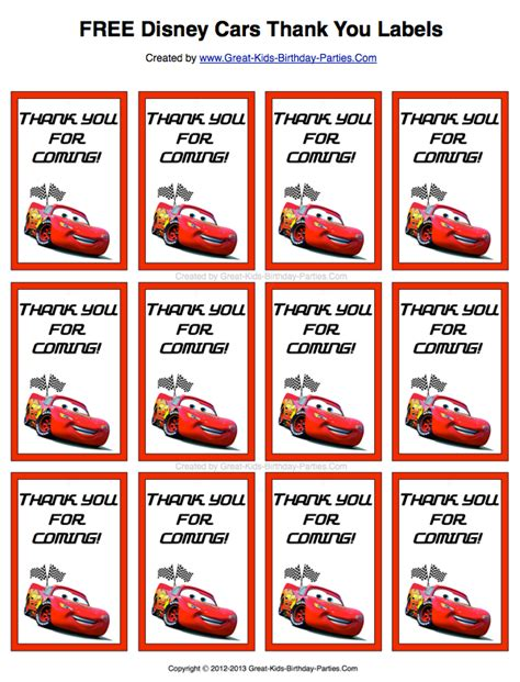 Thank You Card Template For Birthday Giveaways by Disney Cars Favors Sticker Paper Card