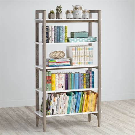 wrightwood grey stain  white bookcase  land  nod