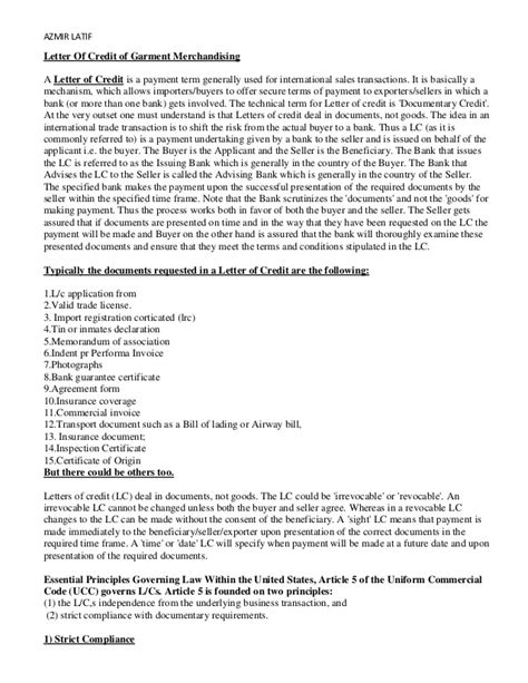 Letter Of Credit Contract Terms Letter Of Credit For Garments Industry