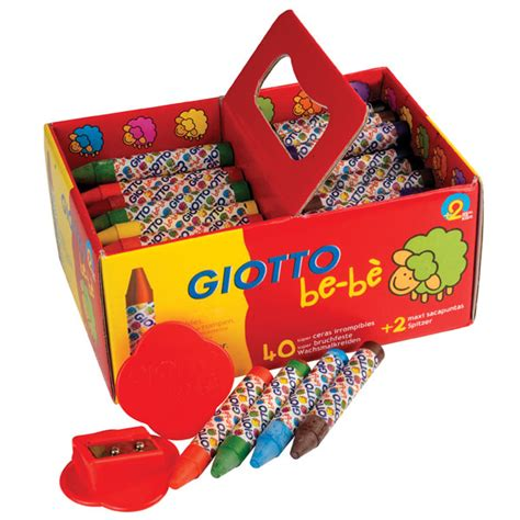 Giotto Bebe Large Crayon 40 Pcs Reff 462700 giotto 462700 bebe large wax crayons pack of 40 rapid