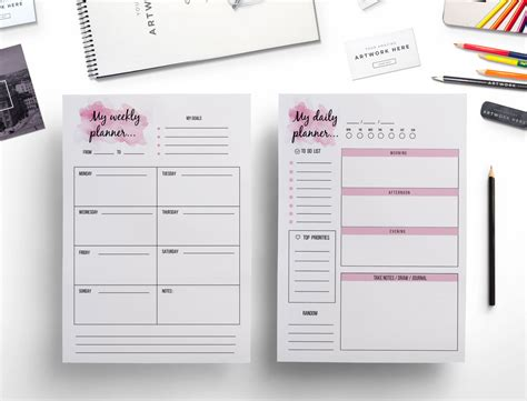 time design planner elegant weekly planner daily planner watercolor effect