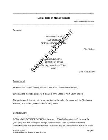Bill of Sale (Australia)   Legal Templates   Agreements