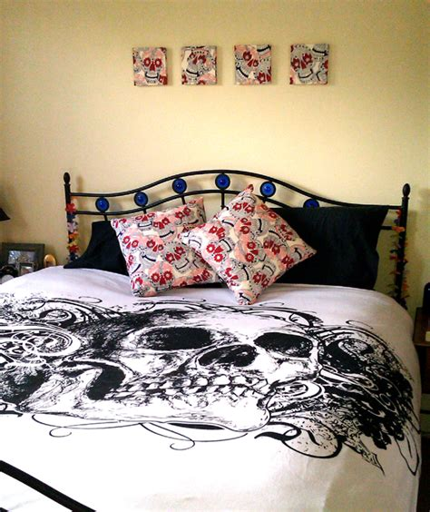 bedroom decor  alexander henry skulls fabric colour therapy