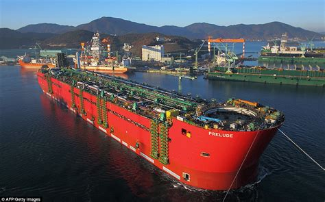 biggest water vessel in the world world s biggest ship prelude takes to the water for the