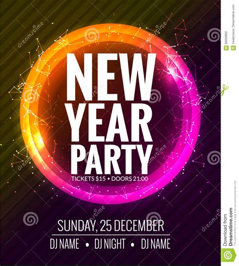 party title for christmas new year new year and poster template design disco banner flyer new year