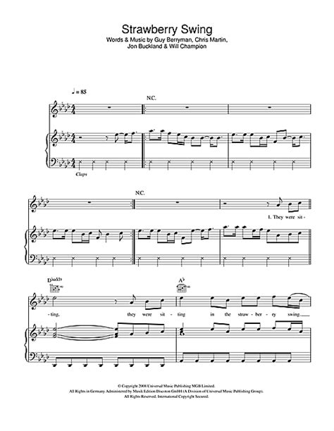 Strawberry Swing Chords by Strawberry Swing Sheet By Coldplay Piano Vocal