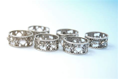 vintage german 835 silver pierced napkin rings with