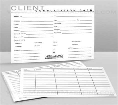 client consultation card templates lash belong client consultation cards 25 pack extensions