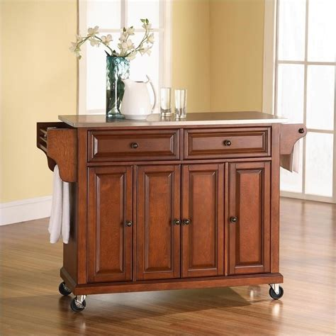 Crosley Furniture Kitchen Cart Crosley Furniture Stainless Steel Top Kitchen Cart In Classic Cherry Finish Kf30002ech