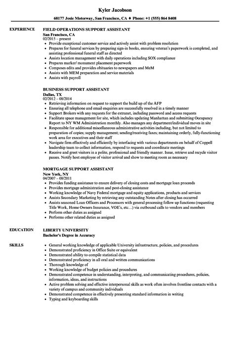 support assistant resume sles velvet