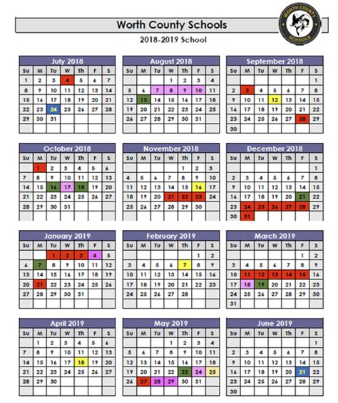 2018 2019 Wcss Calendar Worth County High School