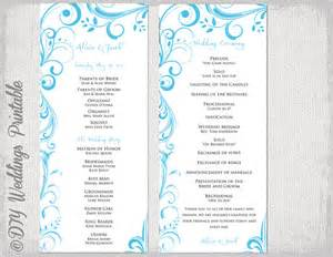 Double Sided Wedding Programs Wedding Program Template Malibu Blue Instant Download