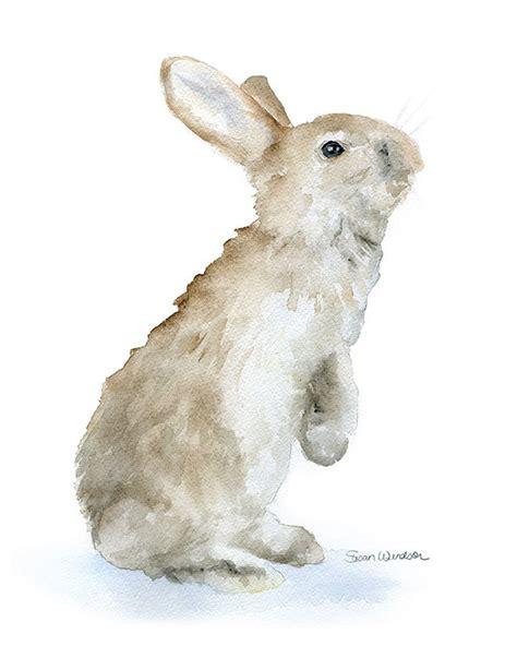 Watercolor Rabbit Tutorial | bunny rabbit watercolor painting giclee print reproduction 8 x