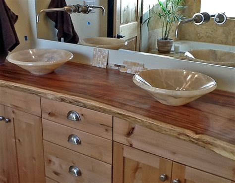 bathroom vanity wood top onyx vessel sinks on edge wood slab vanity top