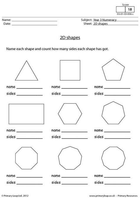 shapes worksheet with names primaryleap co uk 2d shapes worksheet lessons