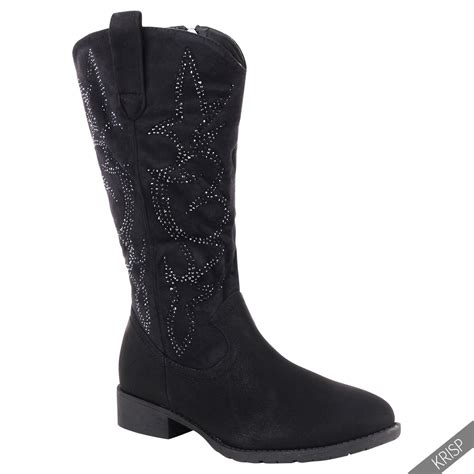 Low Heel Mid Calf Boots womens cowboy mid calf winter boots slouch