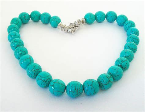turquoise for jewelry one layer turquoise necklace blue chunky necklace