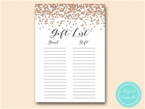 wedding shower gift list template gold confetti bridal shower magical printable