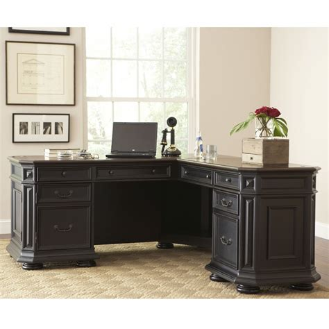 L Shaped Home Office Desks Angelic Design Ideas Using Rectangular Brown Rugs And L Shaped Black Wooden Desks Include
