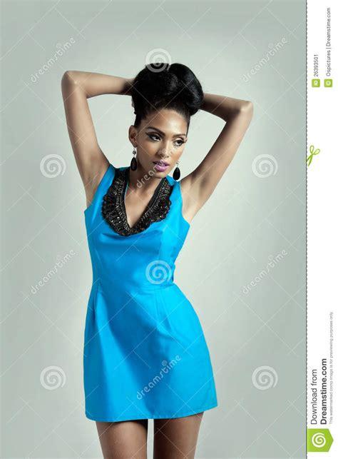 Dress Model Blue Fashion Impor fashion model in blue dress stock image image 26393501