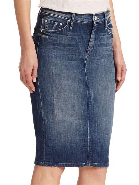 the peg slit back denim skirt in blue lyst