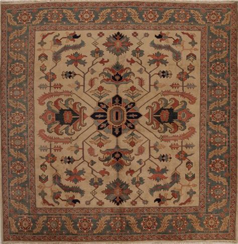 10 Square Area Rugs Heriz Beige Square 9 Ft And Larger Wool Carpet 13308