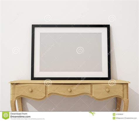 Mock Up Blank Black Picture Frame On The White Desk And White A Frame Desk