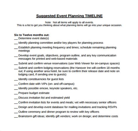event planning timeline template sle event planning 6 in pdf word