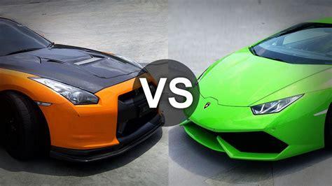 Nissan Gtr Vs Lamborghini Lamborghini Huracan Vs Nissan Gtr Drag Race Draginfo