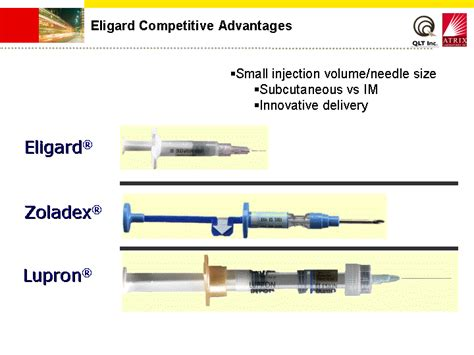 injection volume 1 injection eligard competitive advantageseligard r zoladex r lupron r small injection volume needle