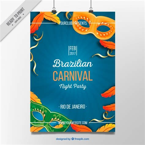 carnival poster template poster with elements typical of brazil carnival vector